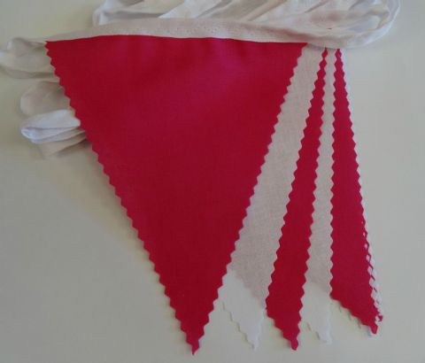 BUNTING White & Cerise pink - 3m/10ft or 5m/16ft